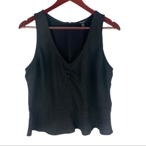 Express Ruched Front Zip Back Peplum Tank